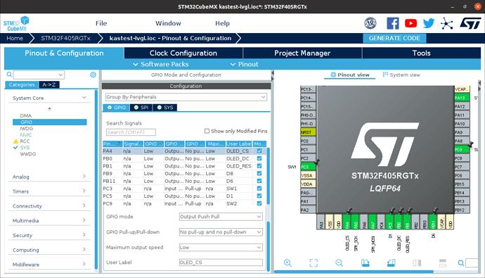 STM32CubeMX GPIO