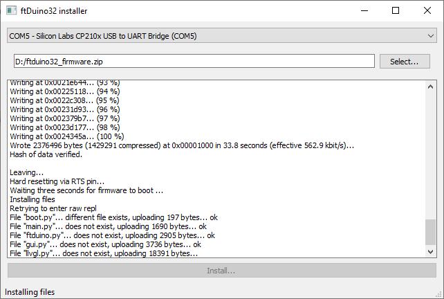 Installer screenshot
